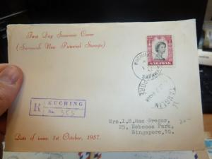 Sarawak FDC Cover QEII 50c Reg 1957 Tanglin Singapore (23beh)