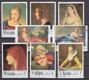 Ras Al Khaima, Mi cat. 218-225 A. Mother`s Day Paintings issue. Canceled. ^