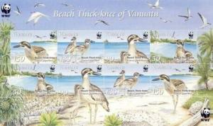 Vanuatu - WWF Birds - 8 Stamp  Sheet  - 22B-001