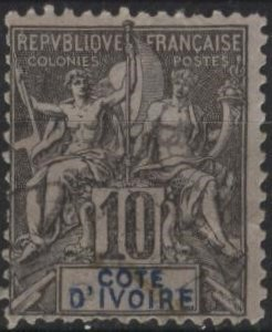 Ivory Coast 5 (used? ng) 10c navigation & commerce, black on lav paper (1892)
