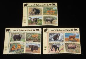 U.N. 2004, ENDANGERED SPECIES INSC. BLKS/ OF 4, MNH, ALL 3 OFFICES, NICE! LQQK!