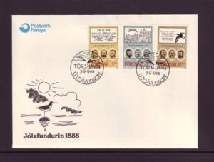 Faroe Islands Sc179-81 1988 Christmas Meeting stamps FDC