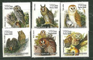 Guinea MNH Set Of 6 OWLS 2002