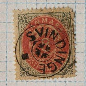 Denmark sc#28 used Fancy SOTN SON postmark cancel SVINGINGE complete