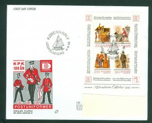 Denmark. FDC 1986. Danish Postmen Uniforms. Hafnia 87 Souvenir Sheet  Sc# 825 .