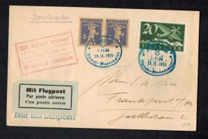 1925 Basel Switzerland First Flight Cover FFC to Frankfurt Germany