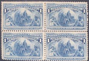 US #230 Block of 4 Mint Hinge OG.  Slight Dist.  1893 1c Columbian Commemorat...