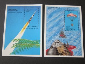 Uganda 1989 Sc 701-2 space set MNH