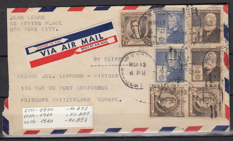 USA - March 13, 1941 Air mail cover to Switzerland - (1403)