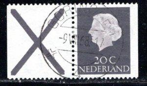 Netherlands Scott # 347, label X, part of booklet pane, used, se-tenant