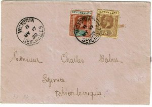Seychelles 1930 Victoria cancel on cover to CZECHOSLOVAKIA, SG 88, 240 pounds