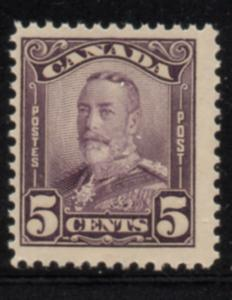Canada Sc 153 1928 5 c deep violet George V scroll issue stamp mint NH