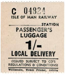 (I.B) Isle of Man Railway : Passenger's Luggage 1/-