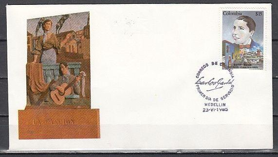 Colombia, Scott cat. 947. Singer Carlos Gardel issue. First day cover.