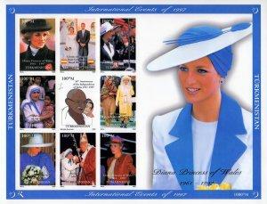 Turkmenistan 1997 YT#56/64  Diana/Gandhi/M.Teresa/Pope John Paul II IMPERFORATED