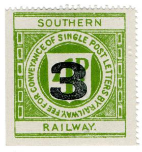(I.B) Southern Railway : Letter Stamp 3d on 4d OP