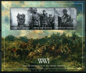 Togo Military Stamps 2014 MNH WWI WW1 First World War I 100th Anniv 4v M/S II