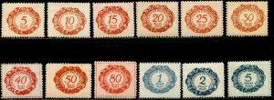 LIECHTENSTEIN Sc#J1-J12 1920 First Postage Dues Complete Set OG Mint Hinged (1a)