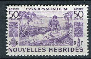 FRENCH; NEW HEBRIDES 1953 early pictorial issue fine Mint hinged 50c. value