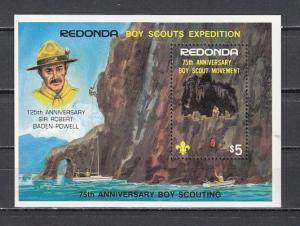 Redonda-Antigua, 1982 issue. 75th Scouting Anniversary s/sheet. ^