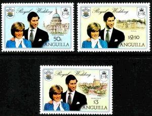 ANGUILLA - 1981 - ROYAL WEDDING - DIANA & CHARLES - CATHEDRAL ++ MINT - MNH SET!