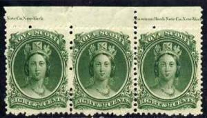 Nova Scotia 1863 QV 8.5c green marginal strip of 3 with p...