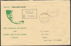 GILBERT & ELLICE 1966 Official Paid registered cover Tarawa to NZ...........6173