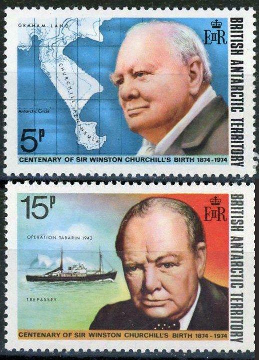 BRITISH ANTARCTIC TERRITORY SC#62-63 Winston Churchill Centenary (1974)  MNH