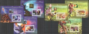 NS445-446 2007 GUINEA FAUNA SPACE DINOSAURS HALLEY ORCHIDS & HONEY BEES 6BL MNH
