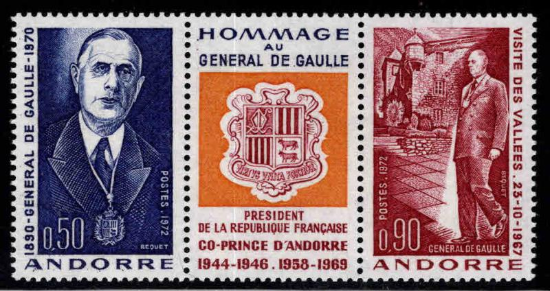 Andorra (French ) Scott 217-218a  MNH** Charles de Gaulle strip