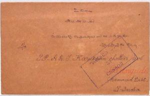 BN183 1939 Malaya WW2 SEREMBAN Framed *Passed by Censor* Cover India PTS