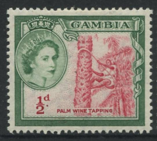 Gambia - Scott 153 - QEII Definitive Issue - 1953 - MVLH - Single 1/2p Stamp