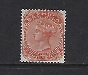 BERMUDA SCOTT #24 1883-1904 VICTORIA 4P (BROWN ORANGE) MINT HINGED