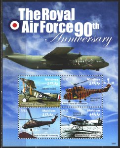 Maldives. 2008. Small sheet 4673-76. Airplanes, helicopters, aviation. MNH.
