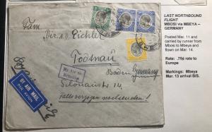 1935 Mbosi Kenya Last Northbound Flight Cover FFC To Todtnau Germany