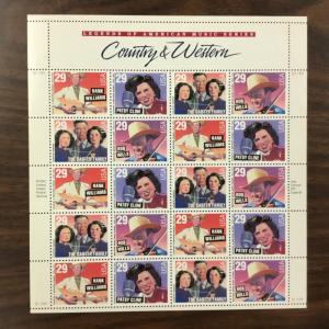 2771-2774 Country Western Music  MNH 29 c Sheet of 20  FV $5.80