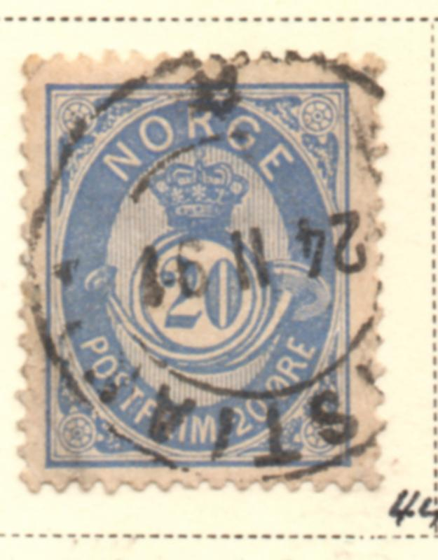 Norway Sc 44 1886 20 ore blue Post Horn stamp used