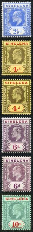 St Helena SG64/70 KEVII set of 6 (both papers) M/Mint