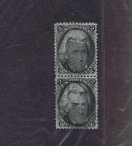 SC# 73 USED VERTICAL PAIR, 2 CENT JACKSON 1863, CORK CANCELS, 1990 PF CERT VF-XF