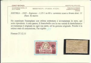 ERITREA 1927 - 1935 ESPRESSO L 1,25 SU 60 C SOPRASTAMPA NERA BLACK OVERPRINT ...