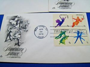 U.S. FIRST DAY COVER SETS - SET of 5 - 1978 - AMERICAN DANCE    (FDC-8x)