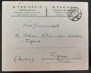 1928 Klaipeda Lithuania Commercial cover To Tirol Austria