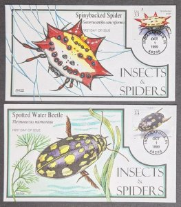 EDW1949SELL : USA 1999 Sc #3351 Cplt Insects & Spiders Collins Hand Painted FDC
