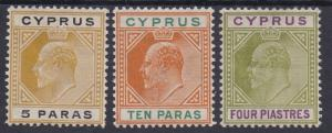 CYPRUS 1904 KEVII 5PA 10PA AND 4PI WMK MULTI CROWN CA