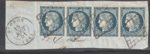 France #6 VF Used on paper -- Lovely horiz. Strip of four tied on piece