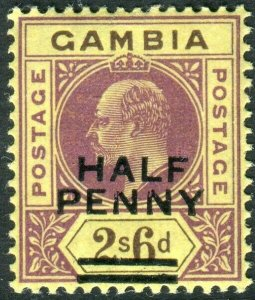 GAMBIA-1906 ½d on 2/6 Purple & Brown/Yellow.  A lightly mounted mint  Sg 69