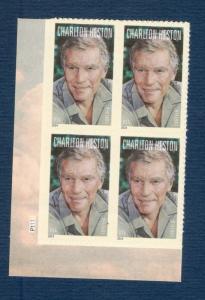 4892 Charlton Heston Plate Block Mint/nh Free Shipping