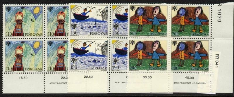 Faroe Island 45-7 BR Blocks MNH International Year of the Child, Art