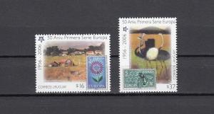 Uruguay, Scott cat. 2121-2122. Europa Stamps Anniversary issue. Bee shown.