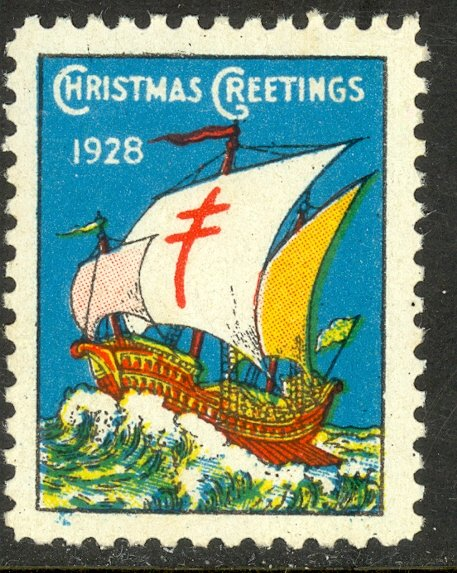 CANADA 1928 CHRISTMAS SEAL English Language Green No. 3 MNH